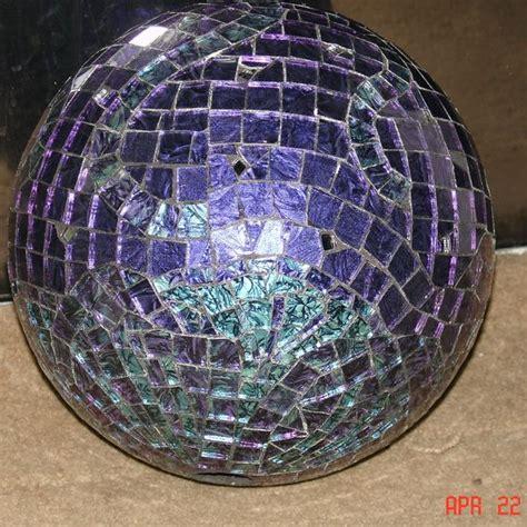 hand  van gogh stained glass mosaic gazing ball