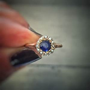 SOLD * Blue Garnet And Seed Pearl Halo 14kt Rose Gold ...