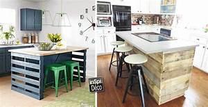 fabriquer un ilot de cuisine en palettes voici 15 idees With idee deco cuisine avec fabrication de table en bois