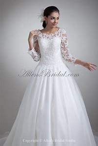 allens bridal organza bateau neckline chapel train ball With three quarter sleeve wedding dress