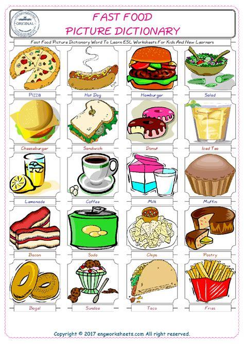 fast food english worksheet  kids esl printable picture