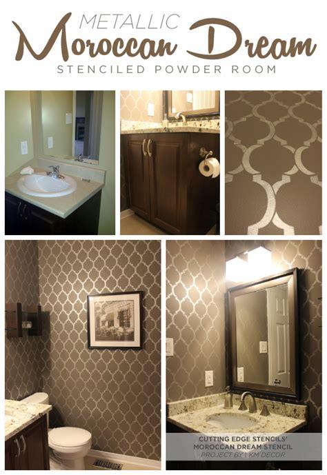 bathroom wall stencil ideas stenciling the moroccan dream pattern in metallics stencil stories stencil stories