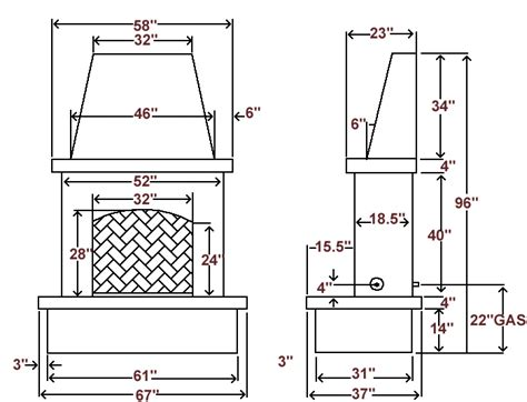 outdoor fireplace dimensions brick fireplace dimensions google search autocad drawings pinterest brick fireplace