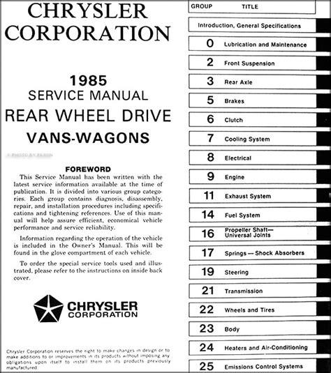 Dodge Ram Van Wagon Repair Shop Manual Original
