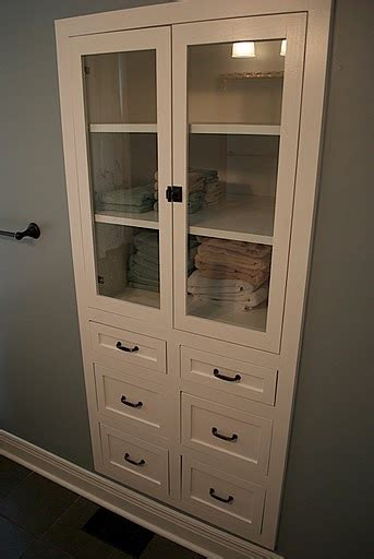 built in linen closet in the bathroom this would work