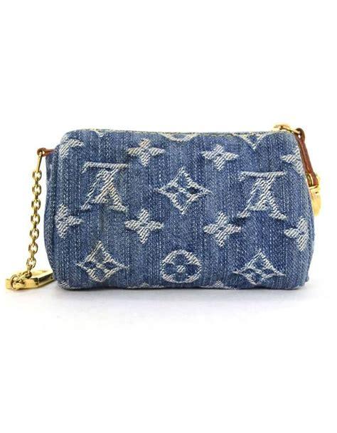 louis vuitton monogram denim speedy bb coin key purse  sale  stdibs