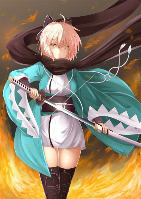 sakura saber black scarf sword short