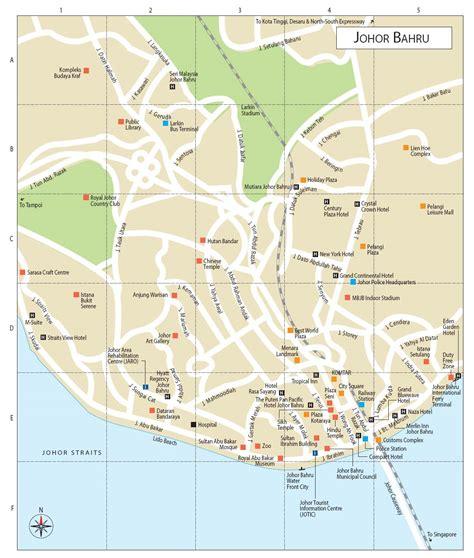 johor bahru tourist map johor bahru mappery
