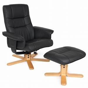 Relax Tv Sessel : fauteuil relax tv avec pouf tabouret en simili cuir inclinable pivotant noir pour la d tente ~ Indierocktalk.com Haus und Dekorationen