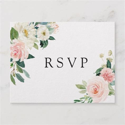 Blush White Bloom Floral Wedding RSVP Invitation Postcard