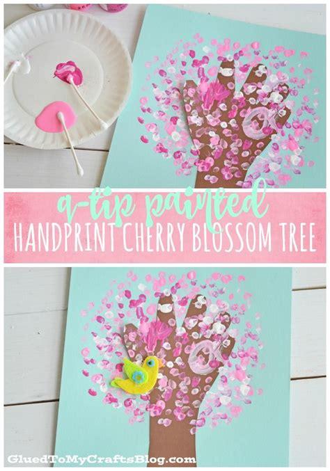 q tip painted handprint cherry blossom tree kid craft 375   7296c3cd5e1fbf4abb0b847bf9cf1432