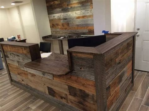 reclaimed wood reception desk made custom barn wood reception desk by defiance 4536