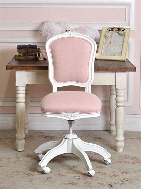 shabby chic desk chair pink linen office chair for all my girly girls