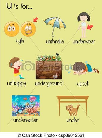 vector illustration of things that start with the letter o many words begin with letter u illustration 12147