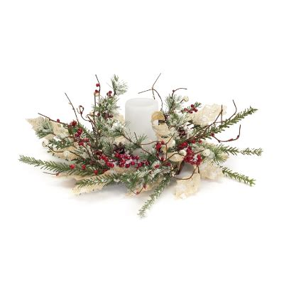 candle ring snow red berries 18 quot frosted berry pinecone candle ring for decorating browse home and garden
