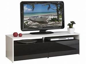 Casa Meuble Tv : meuble tv 2 tiroirs fa ades laqu es coloris blanc noir image casa d coration ~ Teatrodelosmanantiales.com Idées de Décoration