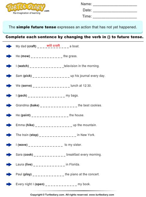 change the verbs to future tense form 3rd grade past