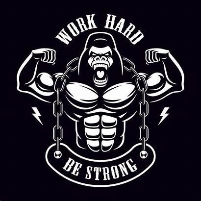 Gorilla Vector Bodybuilder Illustration Chain Workout Clipart