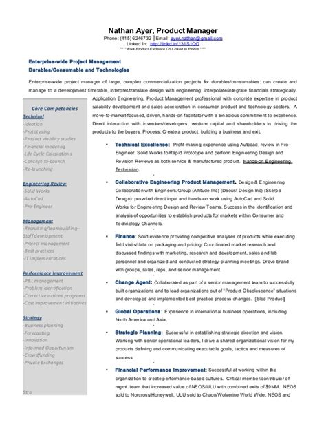 Product Management Resume Sles by Commercialization Expert Channel Sales Product Manager