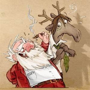 Santa, With, His, Deer, Illustration, Christmas, Santa, Santaclaus, Smoke, Cigar, Deer, Funny
