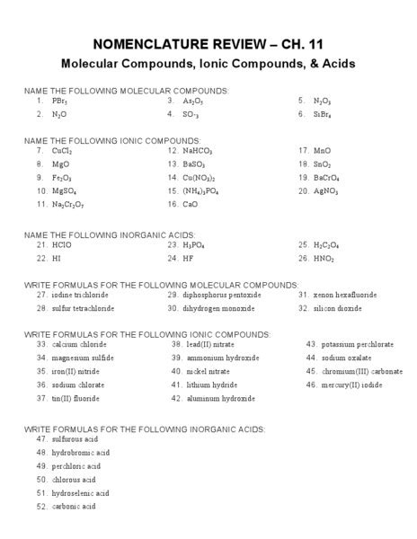 Inorganic Nomenclature Worksheet Homeschooldressagecom