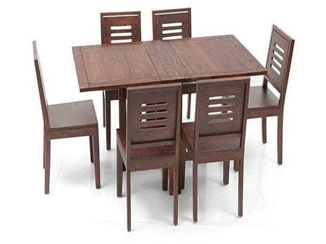 Furniture Wood Folding Dining Room Table And 6 Chairs