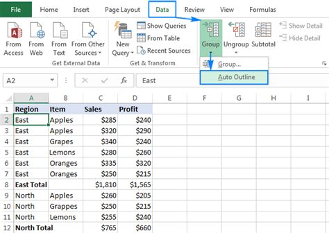 excel rows outline collapse data column collapsible expand auto grouped office levels automatically option expandable different manually below example them