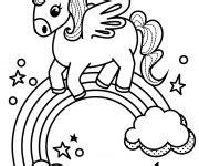 coloriage licorne arc en ciel en vecteur dessin gratuit