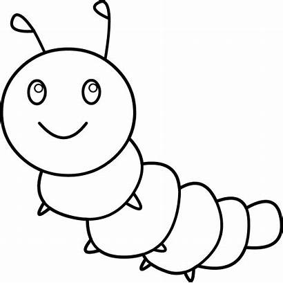 Caterpillar Coloring Happy Clip Clipart Line Sweetclipart