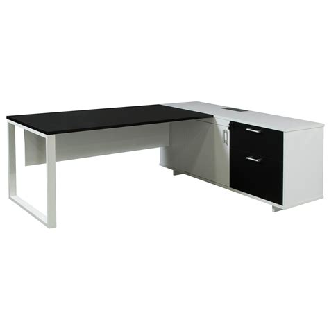 black and white desk l morgan executive right return melamine l shape desk black