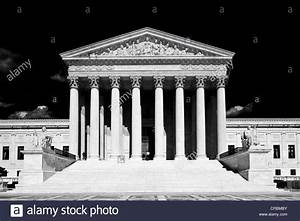 Black and white image, US Supreme Court, Capitol Hill ...