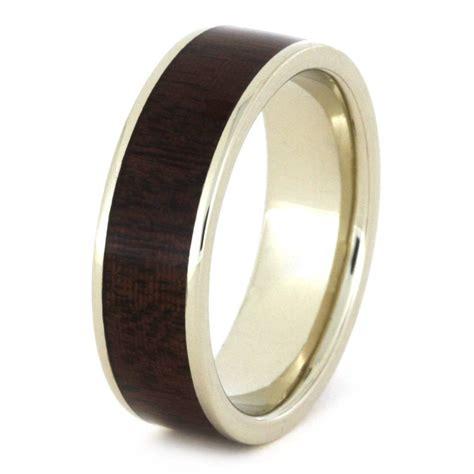 wood wedding ring ipe wood wedding band in white gold