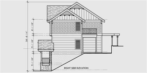 narrow lot house plans with rear garage craftsman three level house plan for sloping lots