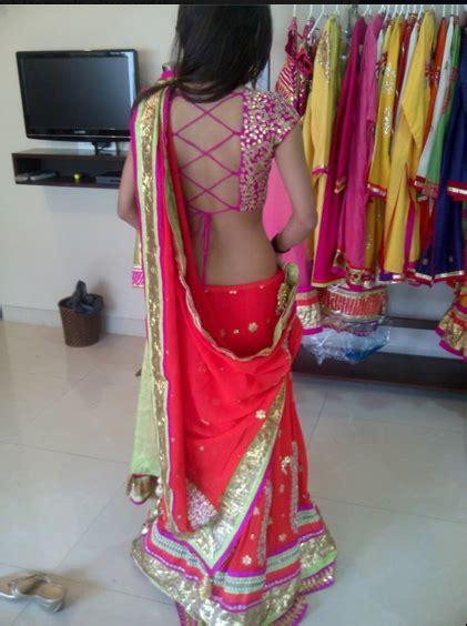 beautiful fuchsia lehenga  backless blouse indian