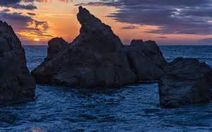 Sunset with Ocean and Rocks