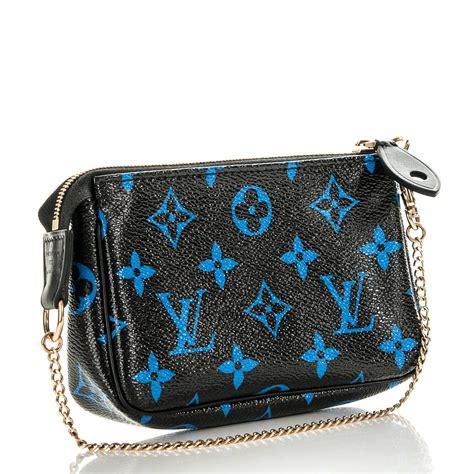 louis vuitton colored monogram mini pochette accessories blue black  fashionphile