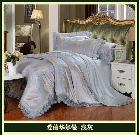 luxury brand silver grey lace satin jacquard bedding
