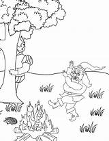 Rumpelstiltskin Coloring Pages Fire Dancing Around Template Colpages Folders Page9 sketch template