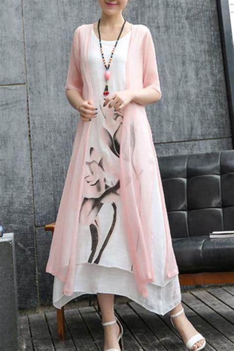 casual lotus printed  piece maxi dress dresses