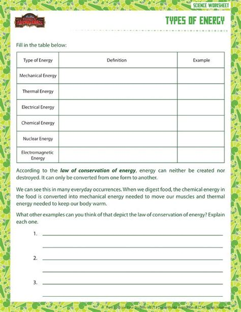 types of energy view printable sixth grade science worksheet school of dragons education