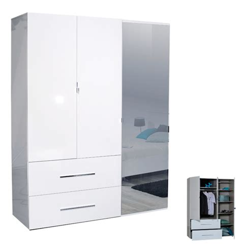 armoire 3 portes 2 tiroirs blanche blanc brillant