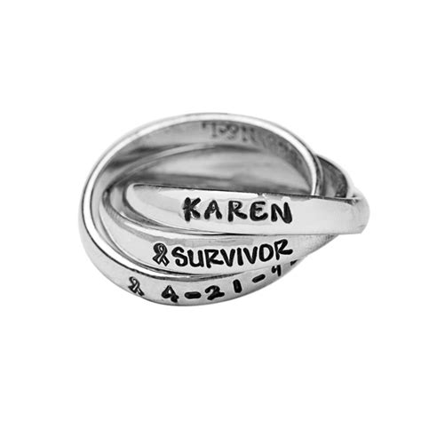 Mother's Cancer Survivor Rings Personalized & Handstamped. Mens Silver Jewelry. Wedding Gold Jewellery. Half Moon Diamond. Chandelier Medallion. Ring And Wedding Band. Constellation Necklace. Peacock Pearls. Emerald Cut Diamond Earrings
