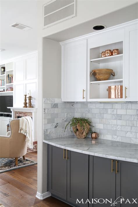 white tile kitchen countertops gray and white and marble kitchen reveal maison de pax 1474