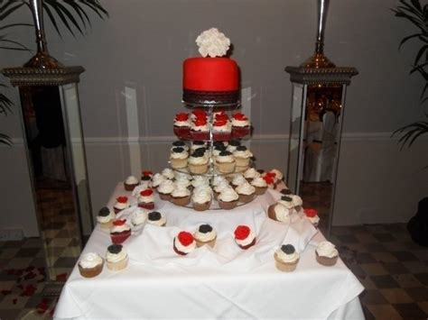 Wedding Cupcake Tower, Red, White And Black