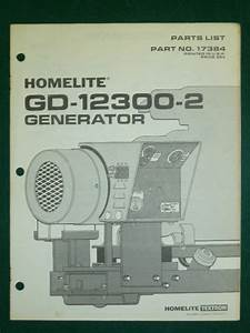 Homelite Generator Parts List Manual  Gd