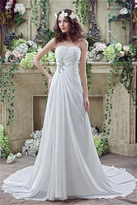 Draped Wedding Dresses - a line strapless corset back chiffon draped destination