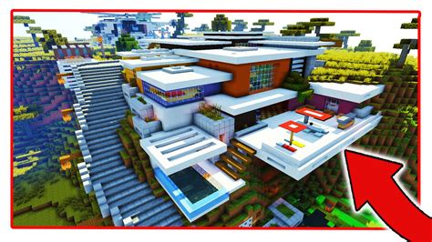 hillside minecraft redstone mansion youtube