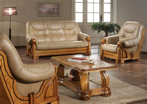 canapé cuir et bois rustique canapé cuir et bois massif canapé idées de décoration