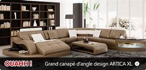 Grand Canapé D Angle Pas Cher : photos canap d 39 angle cuir design pas cher ~ Melissatoandfro.com Idées de Décoration