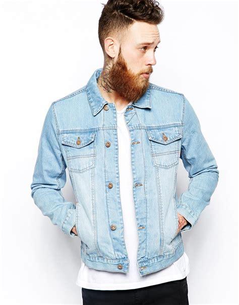 light wash denim jacket mens lyst asos denim jacket with wash in blue for